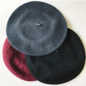 Classic Berets - Black/Gray/Wine Red